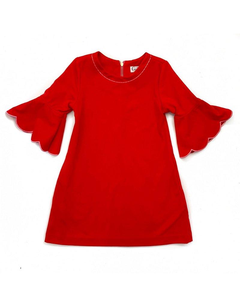 Gabby Gabby Ponte Scallop Sleeve Dress