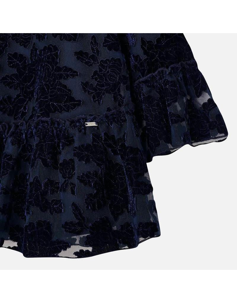 Mayoral Mayoral Tulle Velvet Flower Dress