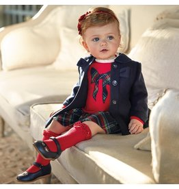 Mayoral Mayoral Dress Red with Plaid Bow
