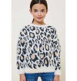 Hayden Los Angeles Hayden LA Leopard Ivory Mohair Pull Over Sweater Top
