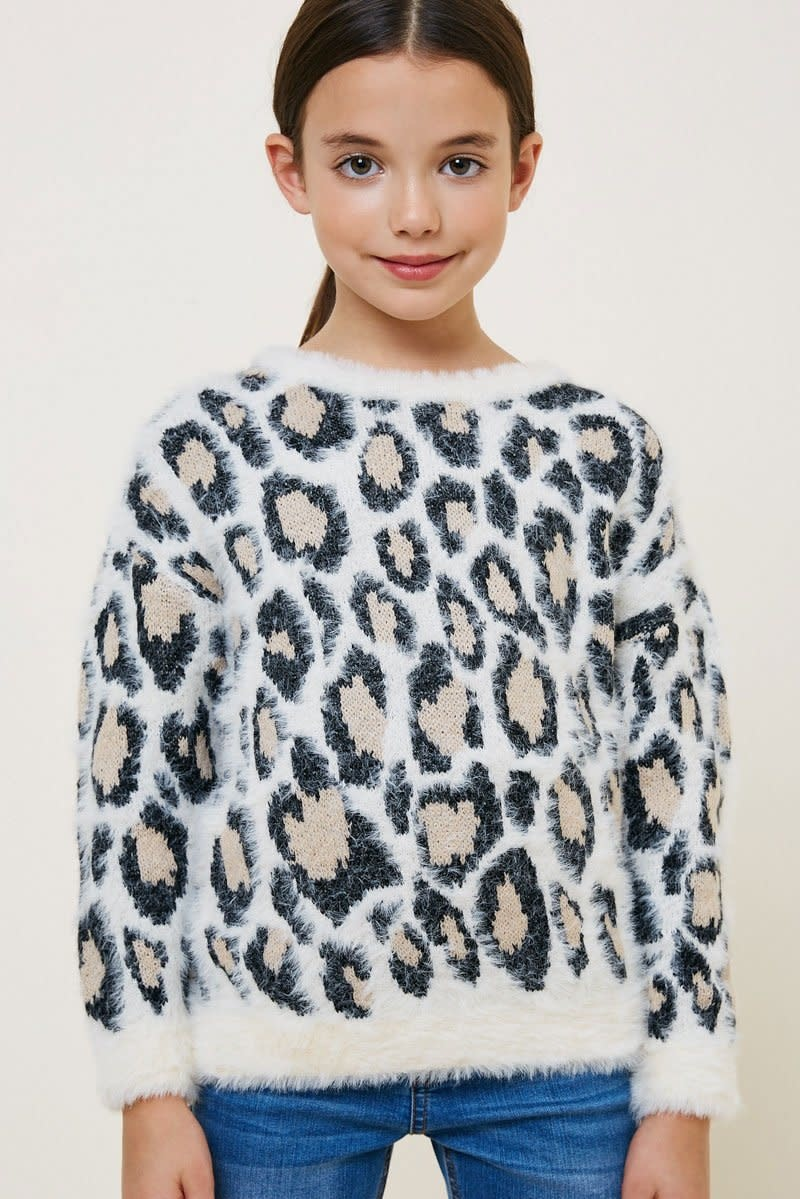 Hayden Los Angeles Hayden LA Leopard Ivory Mohair Pull Over Sweater Top