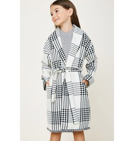 Hayden Los Angeles Hayden LA Plaid Off White Knit Duster Coat