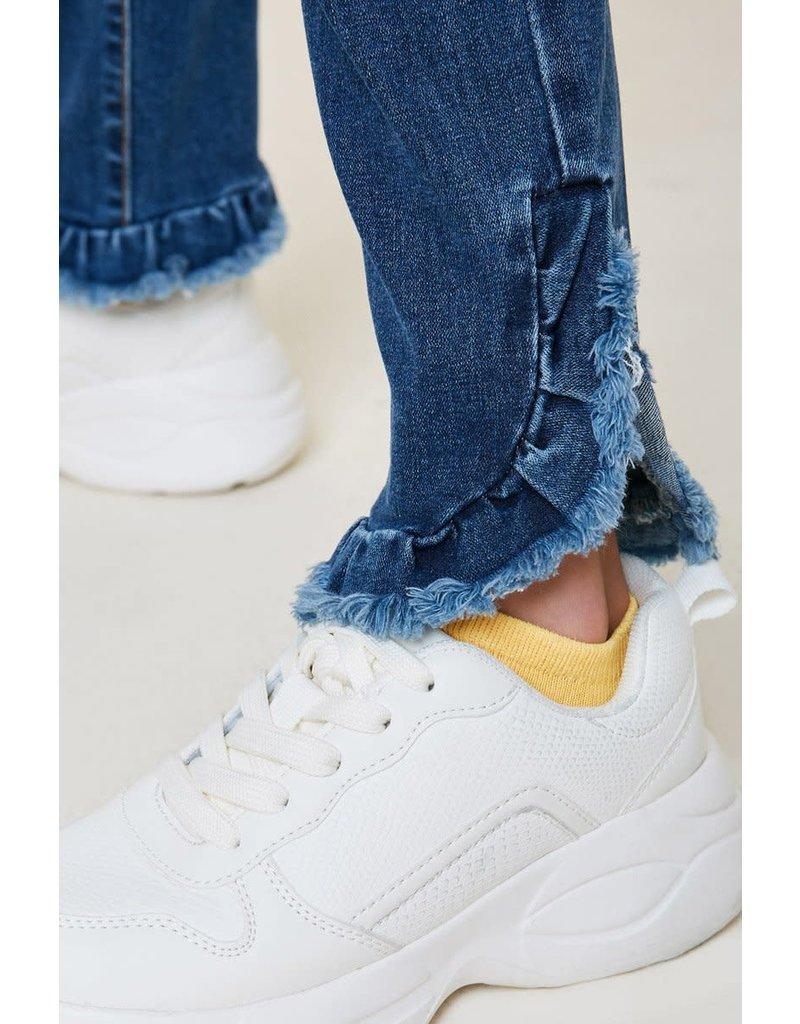 Hayden Los Angeles Hayden LA Distressed Ruffle Hem Jeans