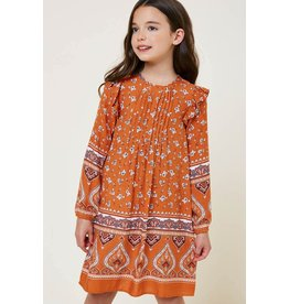 Hayden Los Angeles Hayden LA Printed Brick Mix Ruffle Sleeve Dress