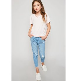Hayden Los Angeles Hayden LA V-Neck Criss-Cross Tee Pale Pink