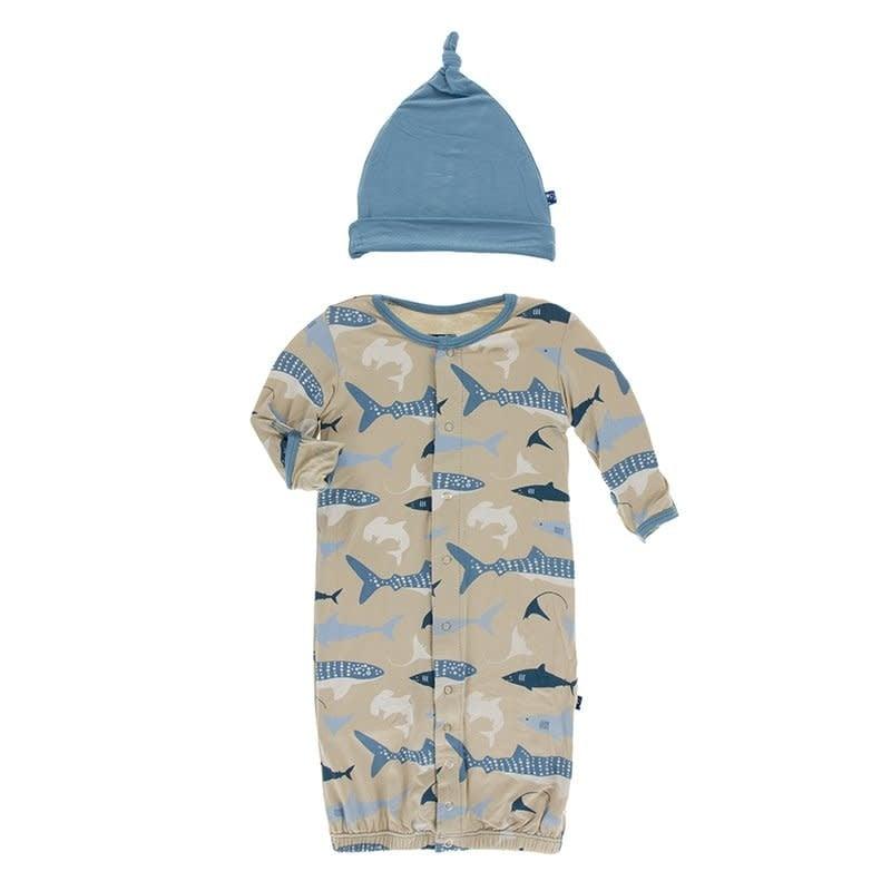 KicKee Pants Kickee Pants Print Layette Gown Converter & Hat