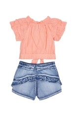 Habitual Girl Habitual Girl Caro Gathered Sleeve Short Set - Girls