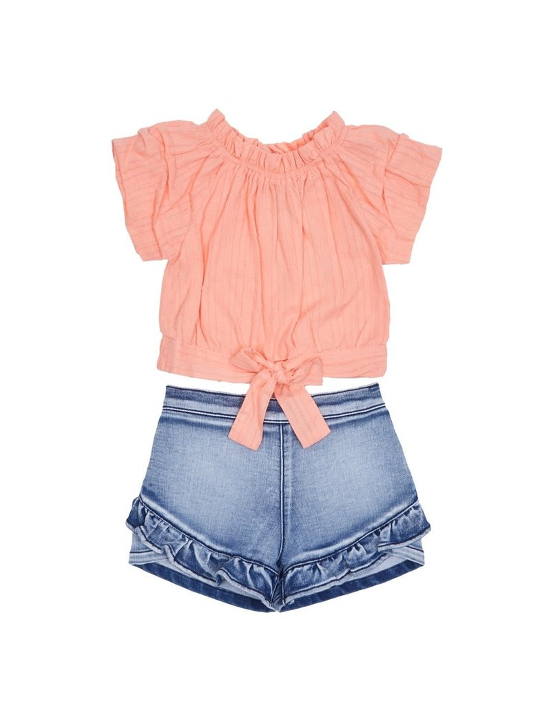 Habitual Girl Habitual Girl Caro Gathered Short Sleeve Short Set - Baby