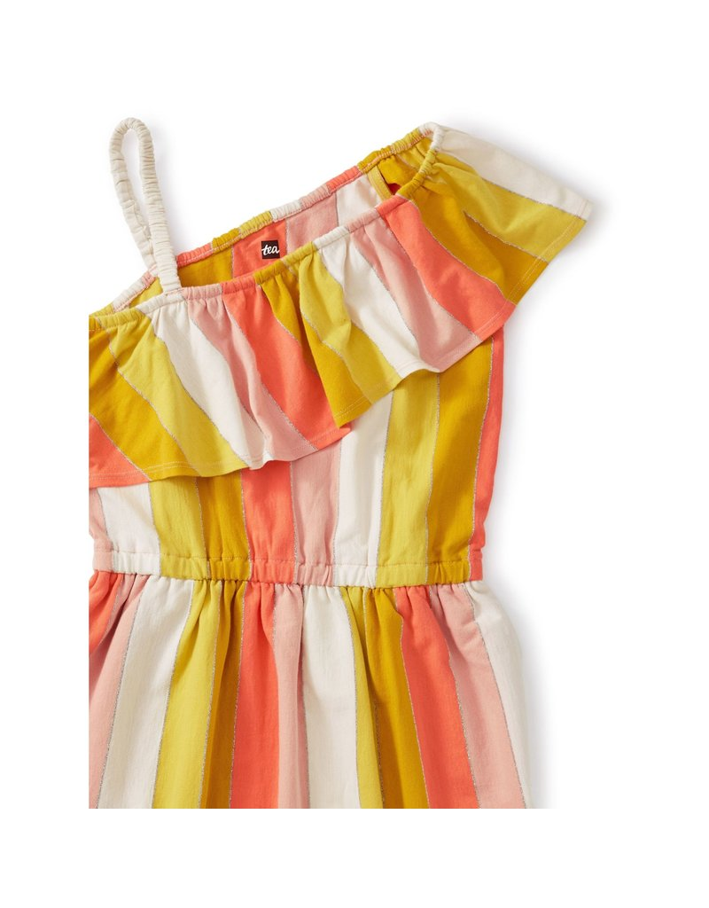 Tea Collection Tea Collection Metallic Ruffle Shoulder Dress