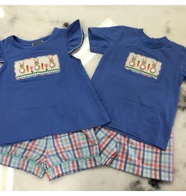 Honesty Clothing CO Honesty Bunny Smocked Plaid Boys Tee Set