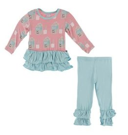 KicKee Pants Kickee Pants Print Long Sleeve Double Ruffle Outfit Set