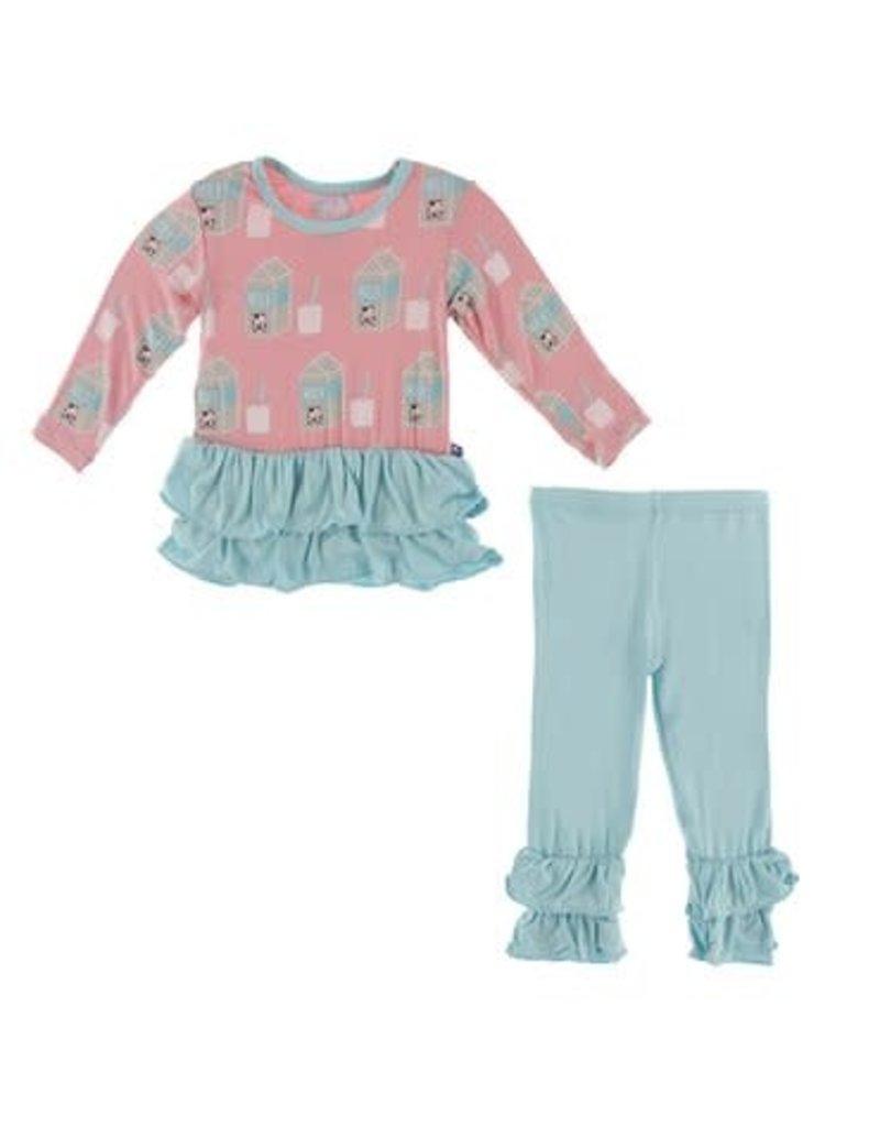 KicKee Pants Kickee Pants Print Long Sleeve Double Ruffle Outfit Set