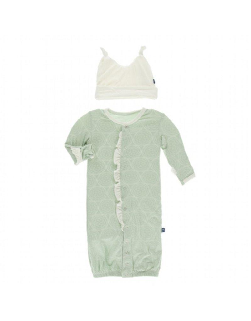 KicKee Pants Kickee Pants Print Ruffle Layette Gown Converter/Double Knot Hat Set