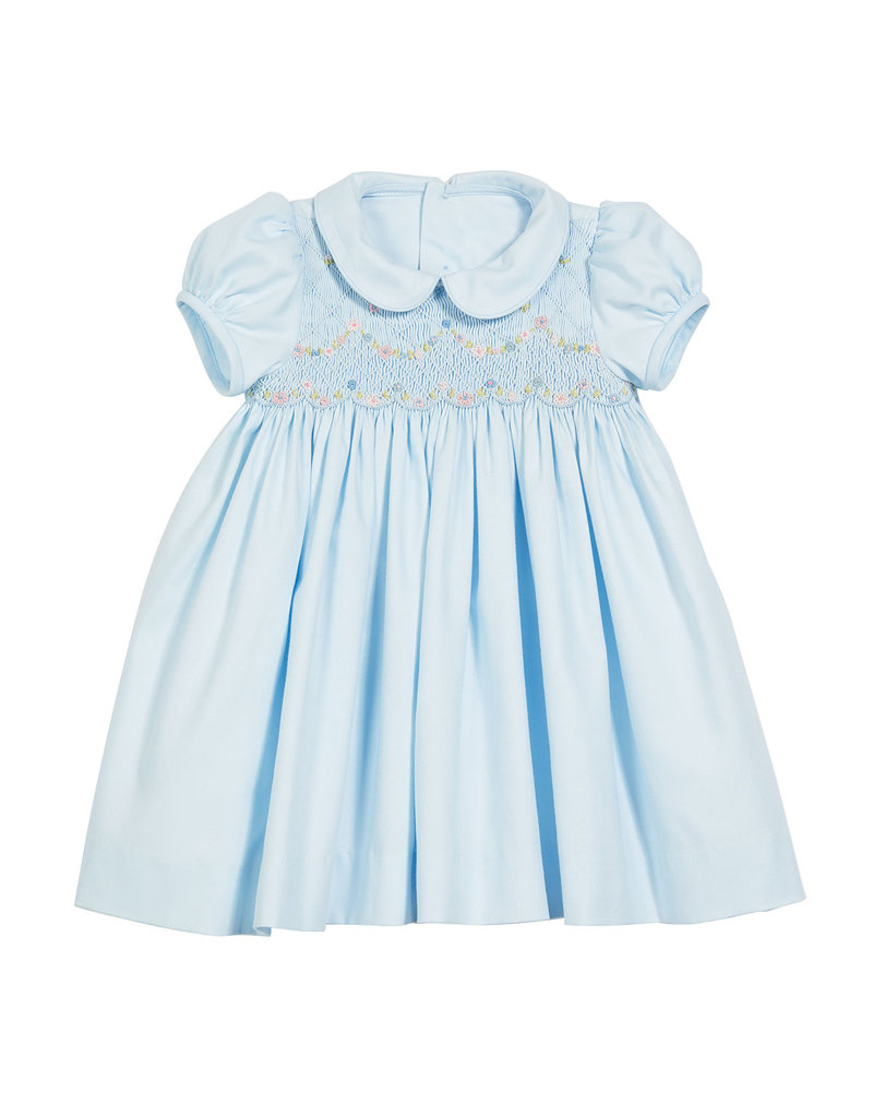 Luli & Me Luli & Me Smocked Dress with Insert Collar