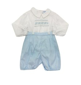 Luli & Me Luli & Me Boys Smocked Shirt with Shorts