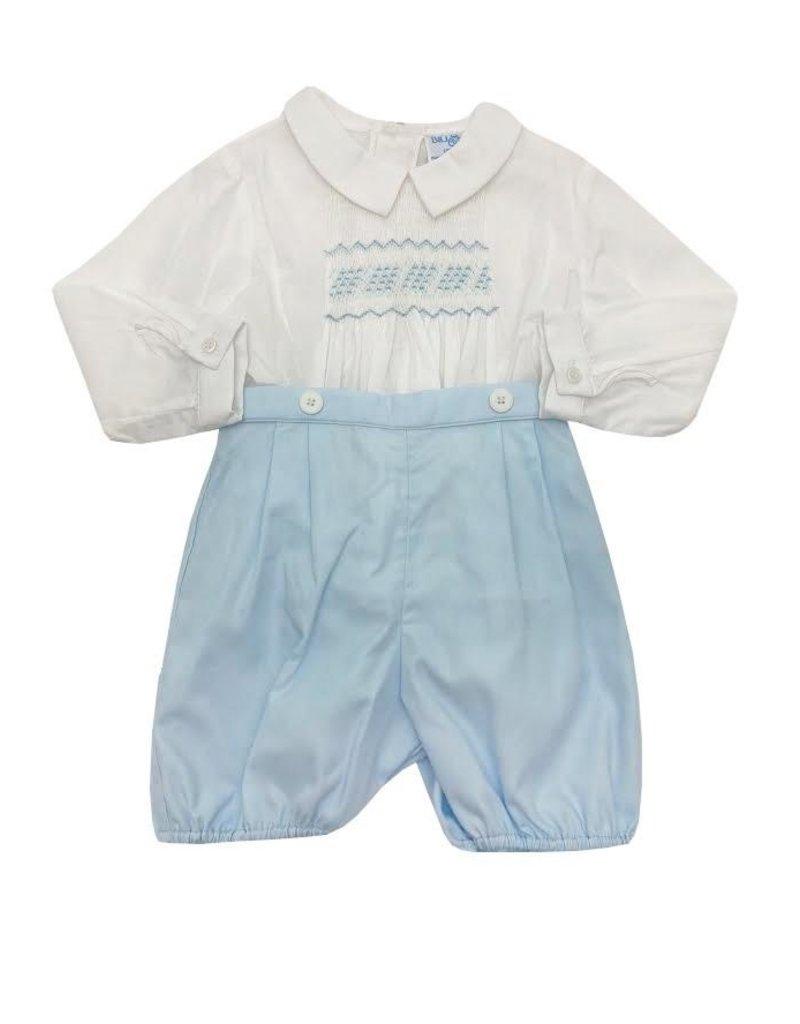 Luli & Me Luli & Me Boys Smocked Shirt with Shorts