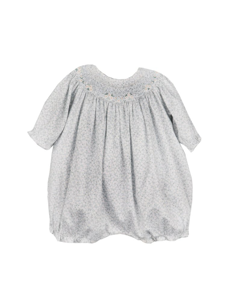 Luli & Me Luli and Me Tiny Floral Smocked Bubble Blue Baby