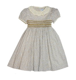Luli & Me Luli and Me Smocked Dress w/Lace Ruffle Little Girl