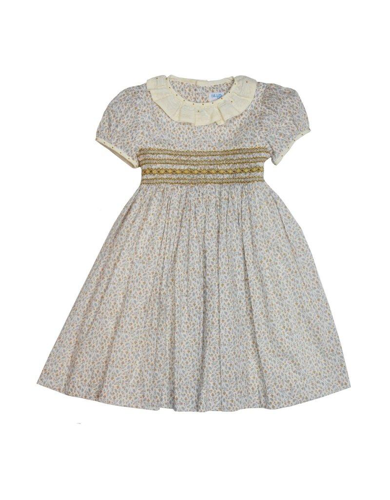 Luli & Me Luli and Me Smocked Dress w/Lace Ruffle Little Girl