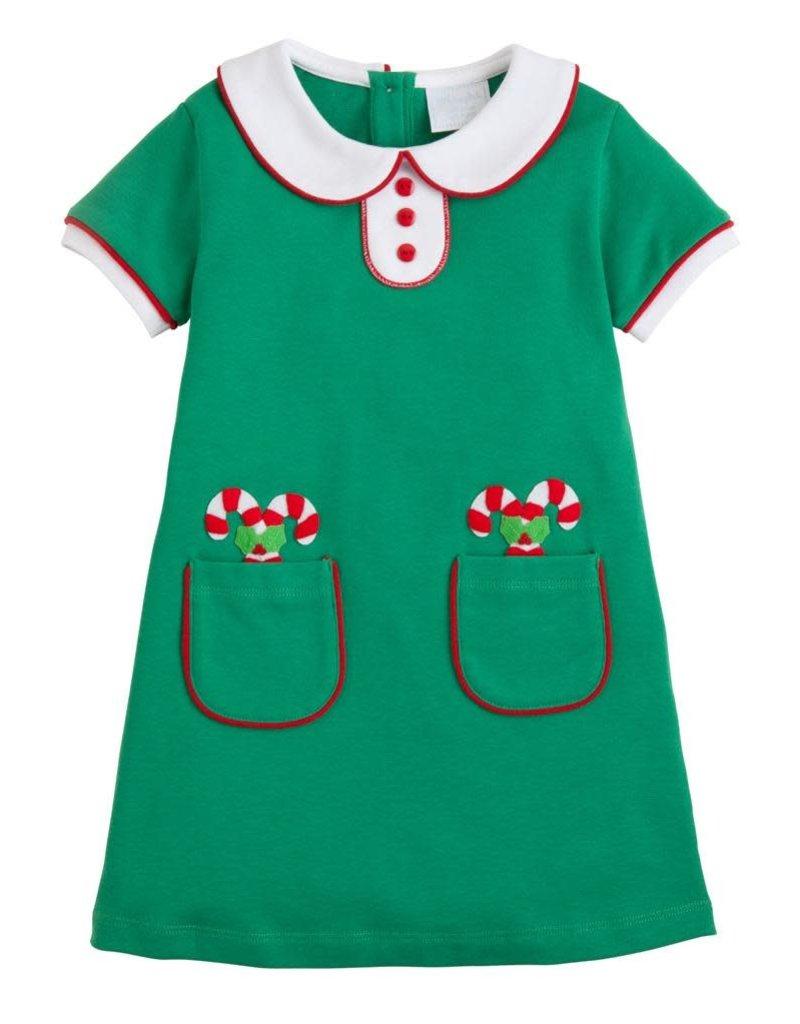 Little English Little English Applique Candy Cane Dress