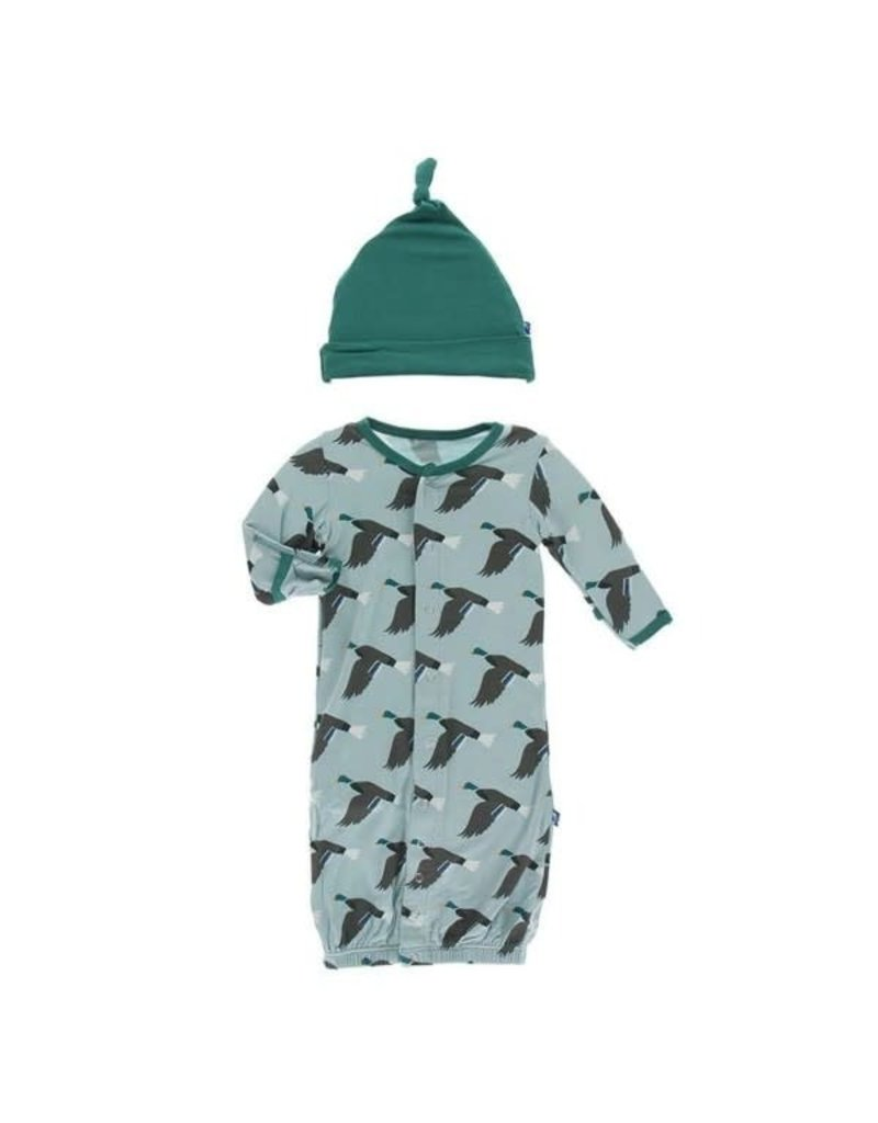 KicKee Pants Kickee Pants Print Layette Gown Converter & Knot Hat Set