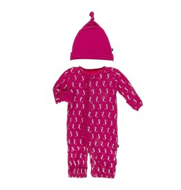 KicKee Pants Kickee Pants Print Ruffle Layette Gown Converter and Single Knot Hat Set