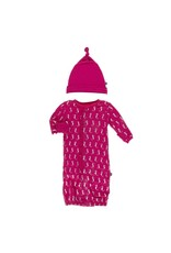 KicKee Pants Kickee Pants Print Ruffle Layette Gown Converter and Single Knot Hat Set