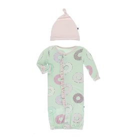 KicKee Pants Kickee Pants Print Ruffle Layette Gown Converter and Knot Hat Set