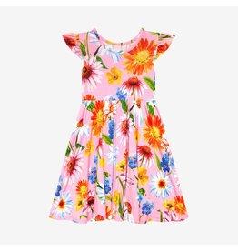 Posh Peanut Posh Peanut Ruffled Capsleeve Basic Twirl Dress