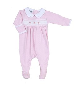 Magnolia Baby Magnolia Baby Layla and Lennox Smocked Collared Girl Footie- Pink