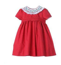 Luli & Me Luli & Me Icy Smock Dress w/Belt, Red