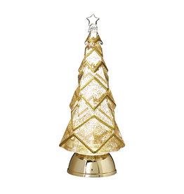 "Raz Imports Raz Imports 12.25"" Gold Glittered Lighted Tree with Swirling Glitter"