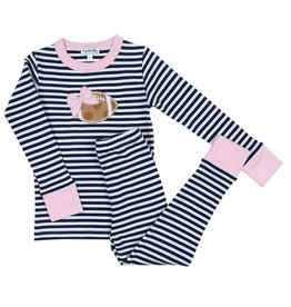 Magnolia Baby Magnolia Baby Light Pink Football Stripes Long PJ