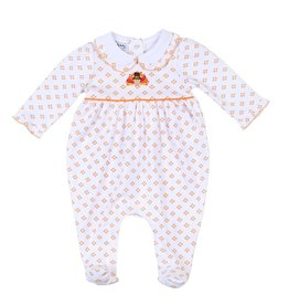 Magnolia Baby Magnolia Baby Fall Harvest EMB Collared Girl Footie OR
