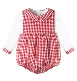 Sophie & Lucas Sophie & Lucas Cottage Check Boy Overall, Red
