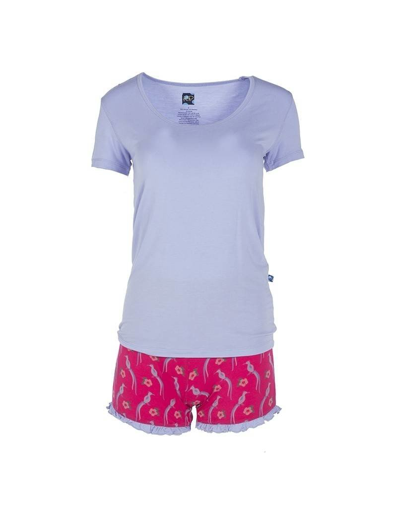 KicKee Pants Kickee Pants Print Short Sleeve Scoop Neck Tee & Ruffle Short Outfit