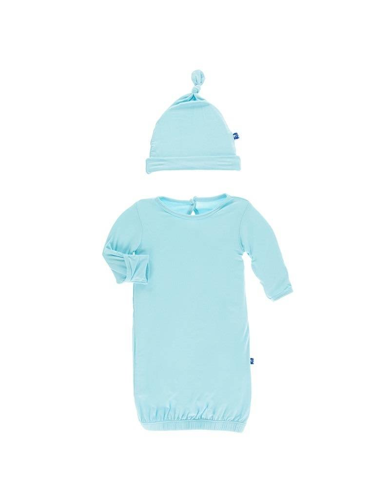 KicKee Pants KicKee Pants Solid Layette Gown & Knot Hat Set