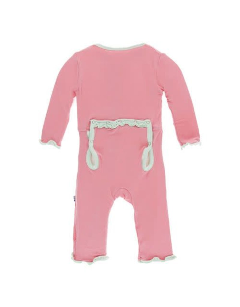 KicKee Pants KicKee Pants Solid Layette Classic Ruffle Coverall w/Zipper