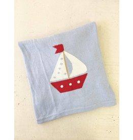 Little English Little English Sailboat Intarsia Blanket Lt. Blue