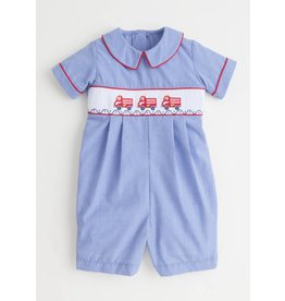 Little English Little English Fire Truck Smocked Shortall