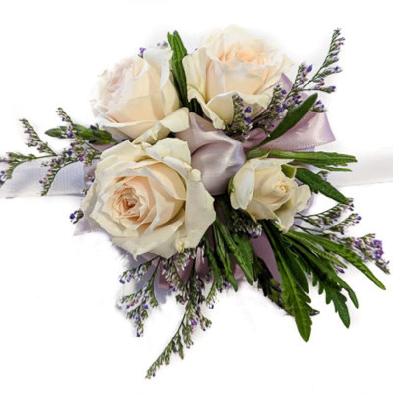 Wrist Corsage: Ivory Spray Roses w/ Lavender