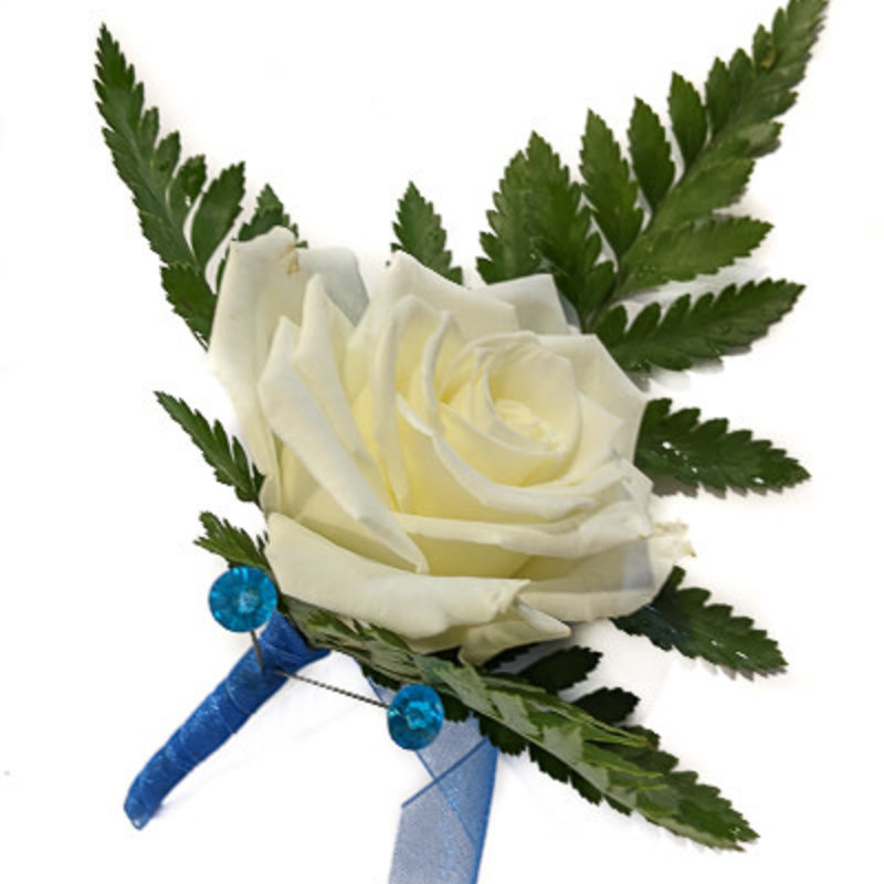 Boutonniere: Single White Rose w/ Blue