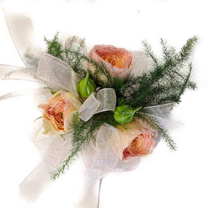 Wrist Corsage: Peach Spray Roses w/ White