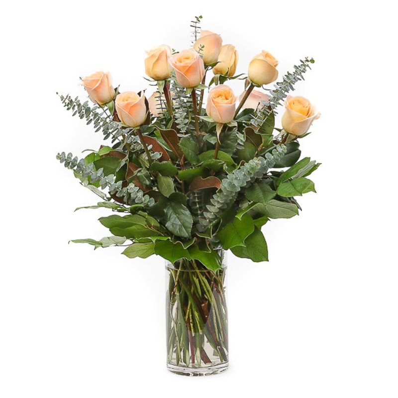 Dozen Peach Roses