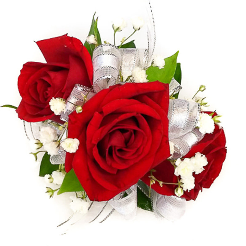 Wrist Corsage: Red Spray Roses w/ Silver