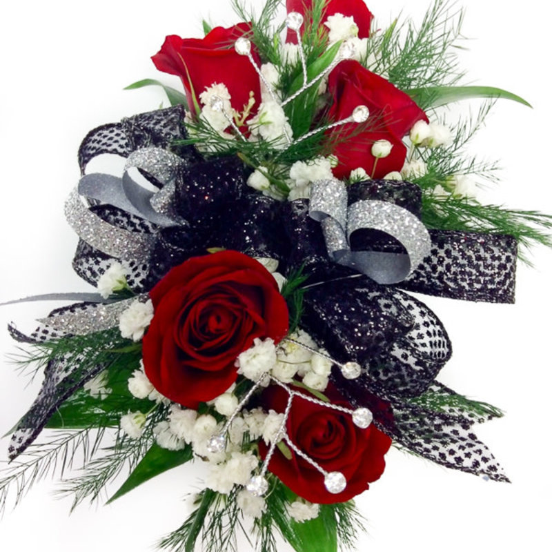 Wrist Corsage: Red Spray Roses w/ Black & Silver