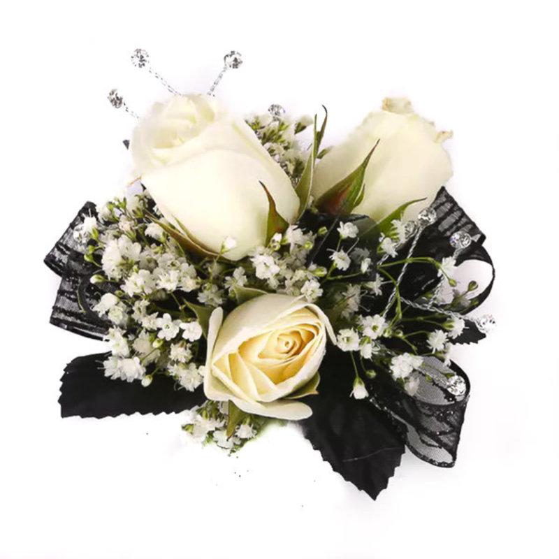 Wrist Corsage: Ivory Spray Roses w/ Black