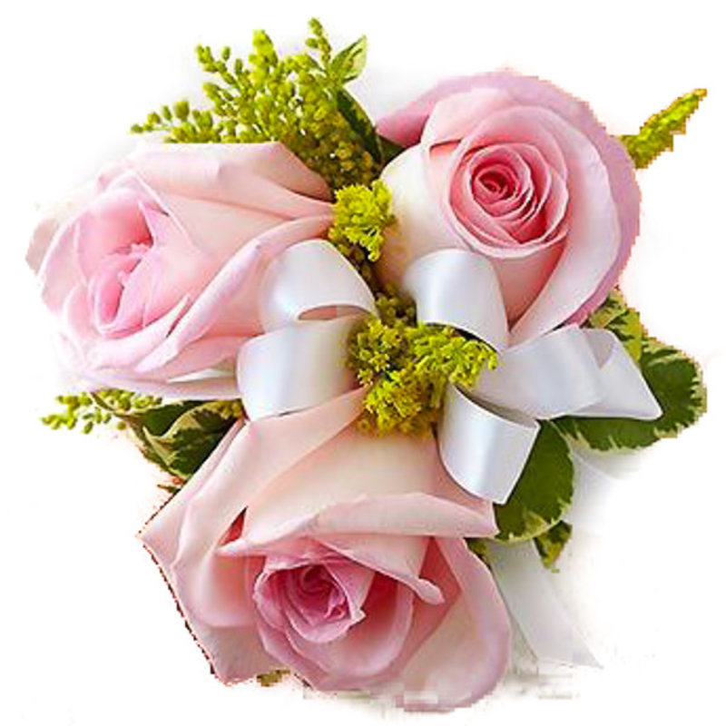 Wrist Corsage: Pink Spray Roses w/ White