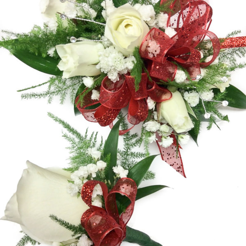 Wrist Corsage & Bout: Ivory Spray Roses w/ Red