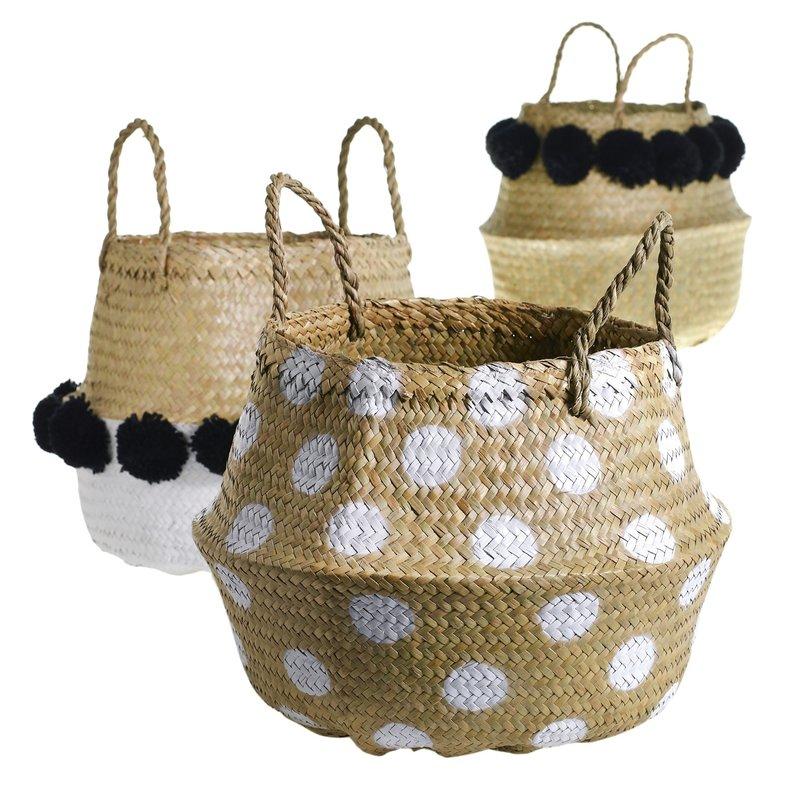 Pom Puff Basket Planter Asst